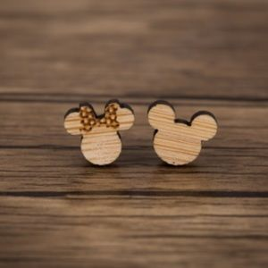 Disney Minnie & Mickey Mouse Wooden Stud Earrings